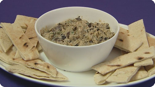 Smokey Aubergine and Garlic Dip with Pitta Bread