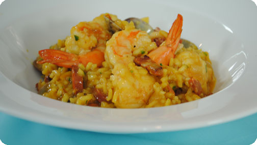 Gizzi's Baked Seafood and Saffron Risotto
