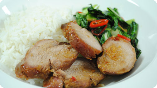 Gizzi's Char Siu Pork with Choi Sum and Rice