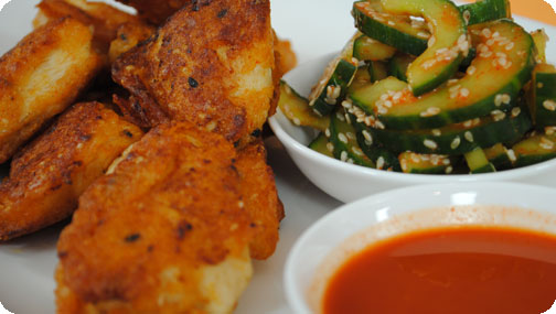 Gizzi's Korean Fried Chicken with Cucumber Dipping Sauce