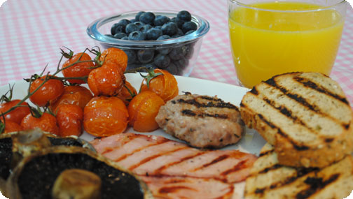 Gizzi's Griddled Full English Breakfast with Blueberries and Juice